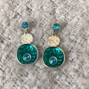 Jewelry - Silver Aqua Resin and Blue Stone Earrings